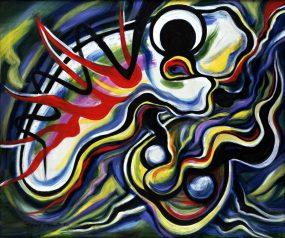 岡本太郎《挑み》1980年 油彩・キャンバス