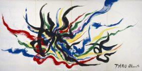 岡本太郎《挑む》1980年 油彩・キャンバス
